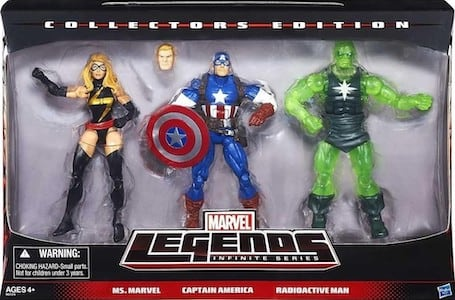 Ms. Marvel, Captain America, Radioactive Man 3 Pack