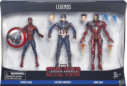 Spider Man, Captain America, Iron Man 3 Pack